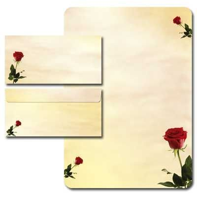 20-tlg. Motivpapier Komplett-Set BACCARA ROSEN Briefpapier 80g/m² mit abgerundeten Ecken + Umschläge DIN LANG ohne Fenster