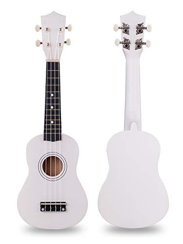 Holz Ukulele 21 Zoll Sopran Hawaii Gitarre Basswood kleine Gitarre für Anfänger weiß