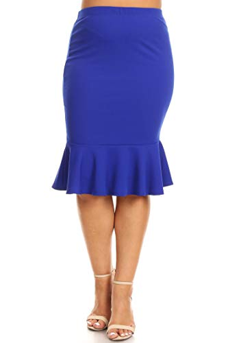 Plus Size Solid Casual Elastic Waistband Ruffle Work Pencil Skirts/Made in USA Royal Blue 3XL