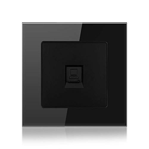 Enchufe De Pared, Red De Datos De Internet, Interruptor De Puerto De Computadora, Vidrio Templado De Cristal 86 Mm * 86 Mm-Negro