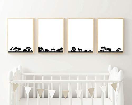 Hakuna Matata - Juego de 4 pósteres decorativos para pared, diseño de Hakuna Matata, color blanco y negro