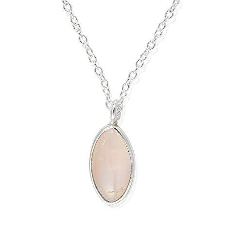 Collar de cuarzo rosa, plata de ley 925, collar de cuarzo rosa con colgante, piedra preciosa de cuarzo rosa auténtica, collar de encanto, joyería de cuarzo rosa para regalo