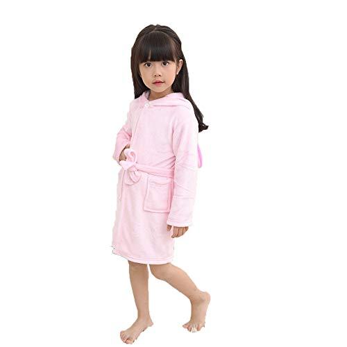 FEIYI Albornoz de invierno con capucha para niños, albornoz de unicornio para niños y niñas, pijama de manga larga con dibujos animados (color: LR45, tamaño de niño: 100 altura 95 105 cm)