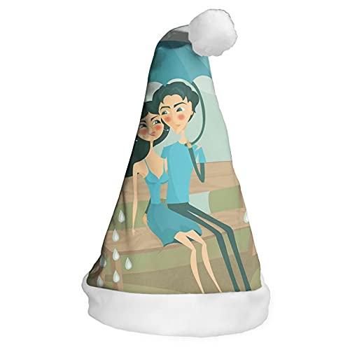 Sombrero de Navidad, sombrero de Santa, 2 unids/lote, pareja sentada en un banco de parque bajo la lluvia con paraguas escena romántica de otoño, fiesta de Navidad de Año Nuevo, adulto, niños 16in