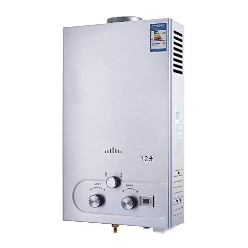 FlowerW 12L LNG Gas Warmwasserbereiter 3.2GPM Tankless Instant Boiler mit Dusche und LCD Anzeige Flüssigerdgas Durchlauferhitzer Set (12L LNG 3.2GPM)