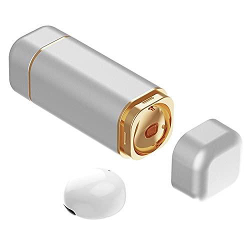 MagiDeal Auricular Individual, Auricular Bluetooth Más Pequeño, Auricular Bluetooth Invisible, con Micrófono, Auricular Inalámbrico Manos Libres de de - Blanco