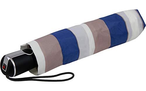Knirps Regenschirm Damen Taschenschirm Large Duomatic Stripe Blue