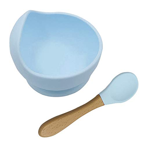 Baby Silikon Saugnapf und Löffelset, Baby Antidumping Breischale mit Saugnapf Saugnapfschale für Babys zum Essenlernen, BPA Frei (Blau)
