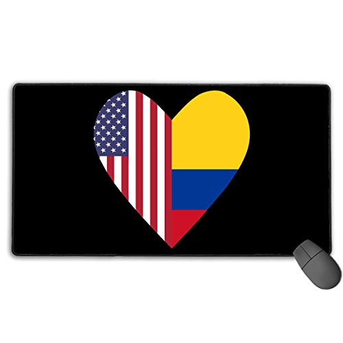 Grote Gaming Muis Pad/Mat, Half Colombia Vlag Half USA Vlag Liefde Hart Aangepaste Muis Pads met Antislip Rubber Base voor Computers, Duurzame gestikte randen