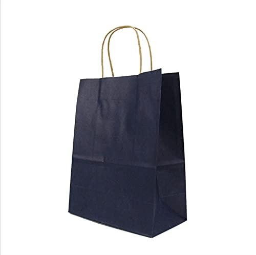 MVAOHGN 40pcs / Lote Bolso de Regalo de Papel Kraft de Moda con Mango/Bolsas de Compras/Bolsa de Embalaje marrón de la Navidad 21x15x8cm (Color : Dark Blue, Gift Bag Size : 21x15x8cm)
