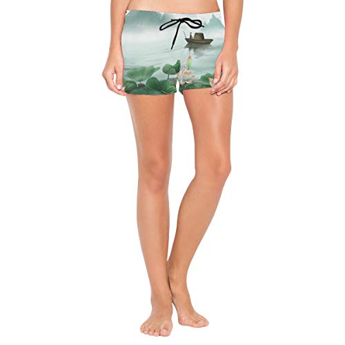 CENHOME Women Swim Shorts Lotus Flower Wooden Boat Mountains Chinese Paint Bottom Boardshorts
