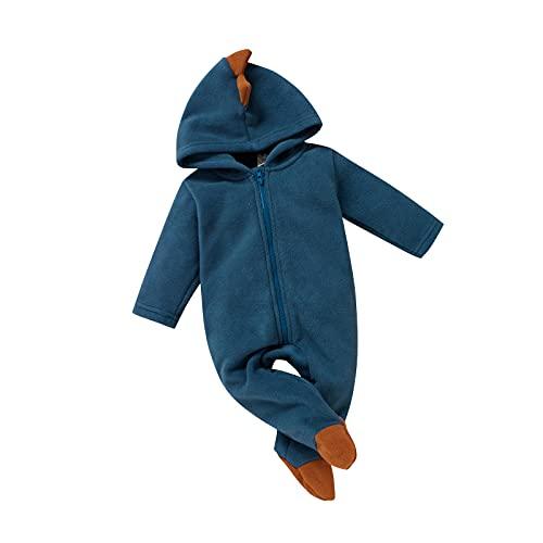 Mono con capucha para niños y niñas, diseño de tiburón en 3D de dibujos animados de una sola pieza con cremallera para subir ropa de juego de 2 piezas, azul, 1 mes