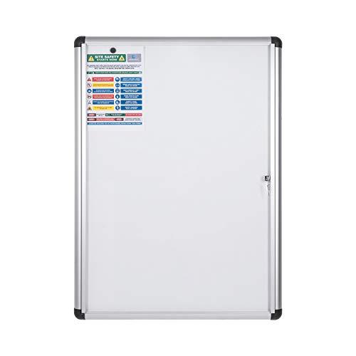 Bi-Office Boletín Enclore Extra, Superficie magnética en acero lacado, Tablón de anuncios con puerta con bisagras para interiores en aluminio, 723 x 984 mm - 9xA4
