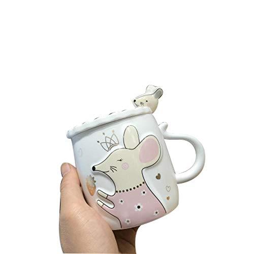 LDJING Taza De Café Taza De Cerámica Alivio Simple Luna Animal De Dibujos Animados Chica Corazón con Tapa Cuchara Pareja Oficina-Taza Blanca