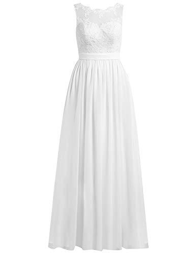 Brautkleider Lang A-Linie Spitze Chiffon Rückenfrei Hochzeitskleider Damen Standesamt Kleid Ärmellos Schlicht Weiß 46