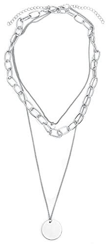 Wildkitten® Wasserfallkette mit Coin Frauen Halskette silberfarben Metall Basics, Fashion & Style