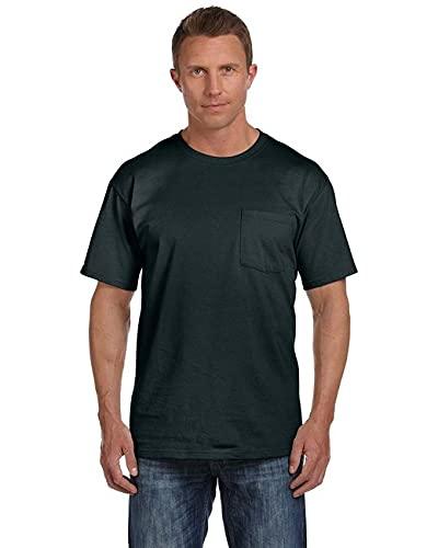 Fruit of the Loom Mens 5 oz. Heavy Cotton HD Pocket T-Shirt (3931P) -Black -M