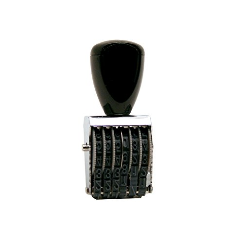 Traditional 6 Digit Rubber Number Stamp, Type Size 2, Black (RN026)