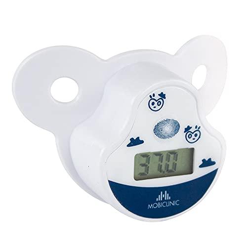 Mobiclinic, Termometro digitale forma ciuccio, Marchio spagnolo, Termometro per bebè, Morbido, Preciso, Ciuccio termometro febbre, Display LCD, Include custodia