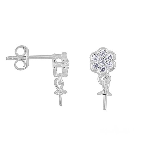 1 Pair Sterling Silver CZ Floral Dangle Push Back Earring Connector with 3mm Pearl/Bead Cup