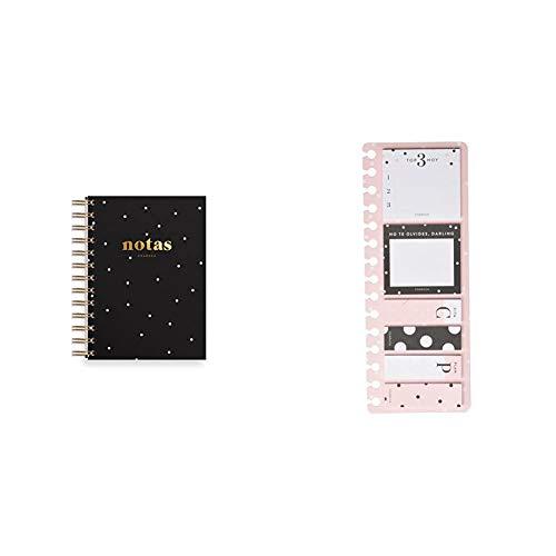 Charuca A601 - Cuaderno mini, A6, color negro + SN02 - Set de notas adhesivas con diseño Pink, color rosa