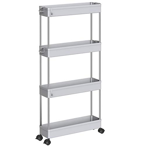 SPACEKEEPER Storage Cart 4 Tier Slim Mobile Shelving Unit Organizer Slide Out Storage Rolling Utility Cart Tower Rack for Kitchen Bathroom Laundry Narrow Places, Plastic & Stainless Steel, Gray