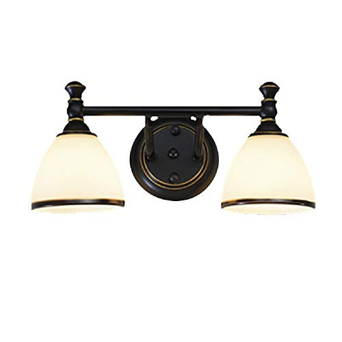 Vanity Light, XINDAR Handmade Milk Glass Bell Vanity Lamp Retro Bathroom Wall Mounted Light in Black (2 Light)