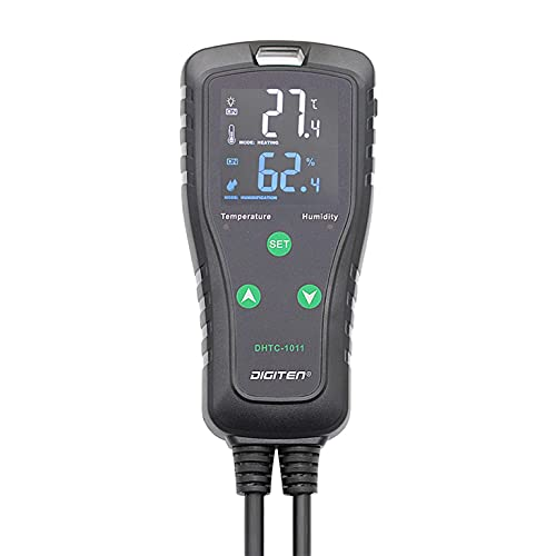 DIGITEN DHTC1011 Temperature and Humidity Controller Dual Stage Outlet Reptile Humidistat Mushroom Greenhouse Thermostat Cooling Heating Humidifier Dehumidifier