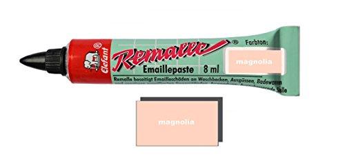 Helmecke & Hoffmann Remalle Emaille Paste Emaillelack Reparaturlack Lack in vielen Farben je 8 ml + Pinsel Fuer Jede Tube (Magnolia)