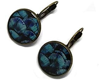 Orecchini retro resina Feather blu turchese ottone nero bronzo 2cm regalo personalizzato noel amico festa della mamma comp...