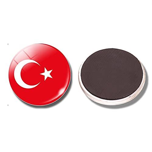 XKMY Dekorative Kühlschrankmagnete Schweiz Türkei Flagge 30 mm Kühlschrankmagnet Armenien-Flagge Glaskuppel Kühlschrankaufkleber Notizenhalter Heimdekoration (Farbe: Türkei)