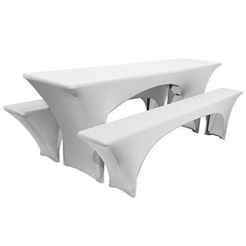 Starsglowing Elastische Tischabdeckung Biertischhussen Stretchtischhussen Hussenset 3 tlg für Bierzeltgarnitur Bierbank Tischhusse| Tischbreite 50cm (Weiß)