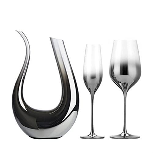 Juego de Cristal de Cristal de Cristal de Plata Gris, Caja de Copa de Regalo de Vino, Cristal, decantador de Vino de Alto Grado, decantador, Separador de vinos creativos (Color : 1 Set)