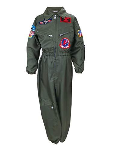 CoolChange Disfraz de Top Gun para nios | Traje de piloto de Guerra de nios | Kaki | Talla: 120