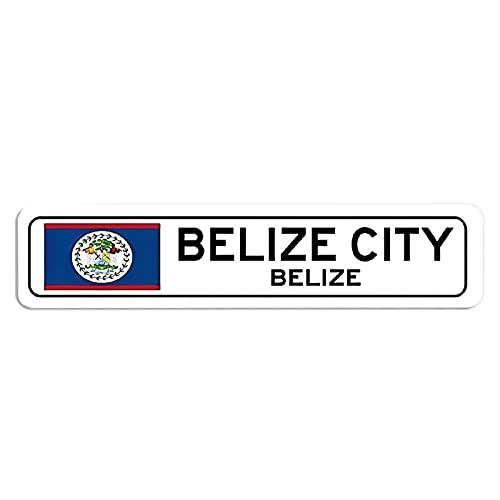 ChristBess Belize-Flaggen-Schild, Belize-Souvenir, Belize-Geschenk, Land-Souvenir, Metall-Stadt-Souvenir, Stadt-Souvenir-Schild – hochwertiges Aluminium-Schild, Metallschild, 10,2 x 45,7 cm