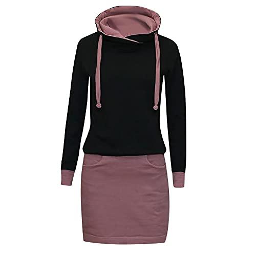 Robe à Capuche pour Femme Pull à Manches Longues Sweats à Capuche Hauts Automne Hiver Chaud Mini Robe pour Adolescents Décontracté Chic Pull Robe Longue Hoodie Sweat-Shirt Robes Long de Travail