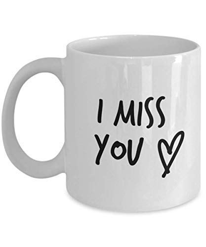 I Miss You 11oz Coffee or Tea Mug White with simple personalized handwritten style design with cute Love Heart