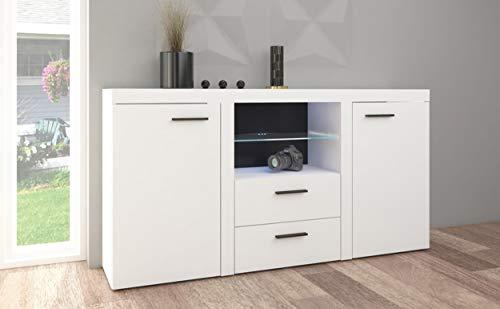 Küchen-Preisbombe TOP Kommode Sideboard Rumba Wohnwand Wohnzimmer Anbauwand Weiss matt