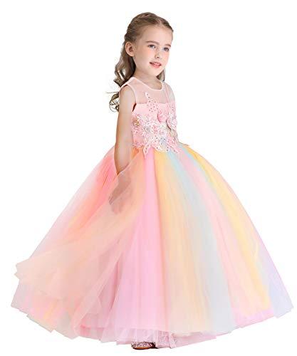 MYRISAM Mädchen Einhorn Kleid Kinder Ärmellos Prinzessin Kleid Geburtstag Hochzeit Festzug Weihnachten Halloween Karneval Fotografie Lange Tüll Ballkleider Regenbogen 4-5