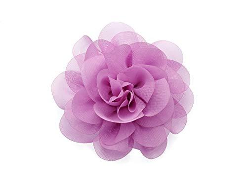 La Loria Damen 2 Schuhclips Sunny Flower aus Chiffon in Flieder Accessoire zum Schuhe verschönern