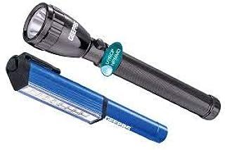 Geepas Waterproof Led Flashlight With Rechargeable Battery - Gfl4647, Black
