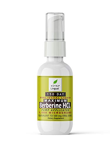 Berberine HCL (from Berberis aristata, Indian Barberry) 3,500 mcg (Equivalent to 500 mg Oral Dose) 150 DAY Sublingual Liquid Supplement by NUTRA Lingual™ for Maximum Absorption