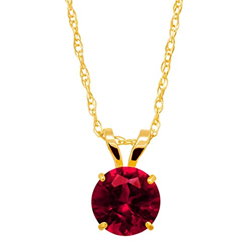 1 ct Created Ruby Round-Cut Solitaire Pendant Necklace in 10K Gold