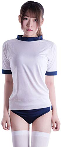 HEHEDE Sexy lencería Linda Mujer s Cute Sexy Japanese School Girl Crop Top Sexy Crop Top y Conjunto de Bragas-Azul-Largo