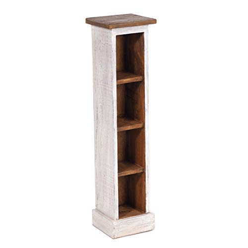 DESIGN DELIGHTS RUSTIKALES Holz CD Regal CD Tower | Mahagoni Massivholz, 76x15,5x16cm (HxBxT) | Holzregal mit 4 Fächern, CD Aufbewahrung | Farbe: 05 weiß-Natur