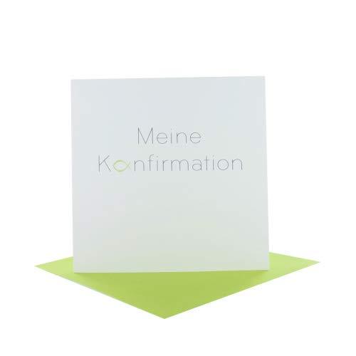 Einladung zur Konfirmation Quadratisch naturweiß + Kuvert