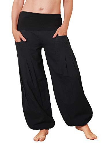 Leucht-Welten Damen Pumphose aus Baumwolle Pocket-Hose p31 Schwarz Einheitsgröße