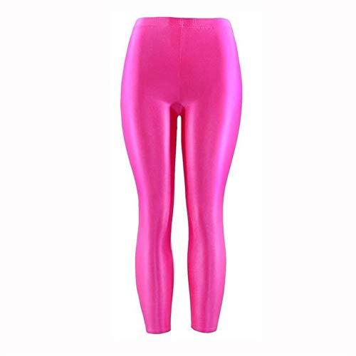 QWERBAM Casual 1PC Polainas De Las Mujeres Populares Panty Brillante Fluorescente Spandex Pantalones For La Niña De Gran Tamaño Color Sólido Elástico (Color : Rose Red, Size : M.)