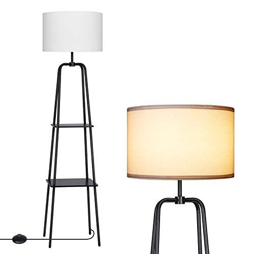 DEWENWILS 60 inch Black Floor Lamp with Shelves, 2-Tier Display Shelf, White Linen Drum Shade, Metal and Wood Construction, Standing Storage Lamp for Living Room, Bedroom, Office