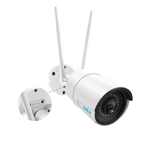 Reolink WLAN IP Kamera, Überwachungskamera 1440p HD mit Audio für Aussen, 2,4/5GHz WiFi Outdoor Kamera mit IR Nachtsicht, SD Kartenslot und Bewegungserkennung, RLC-410W
